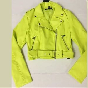 💛Bright Neon lime green faux leather moto jacket